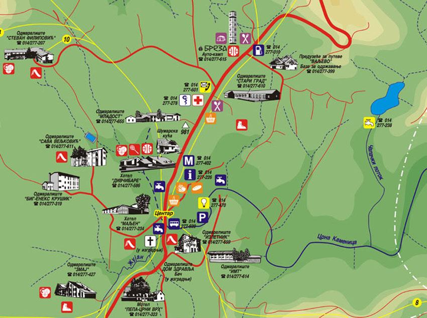mapa Divčibara